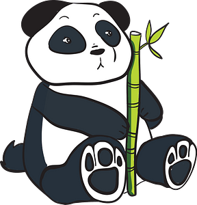 Panda with bamboo stalk clipart
