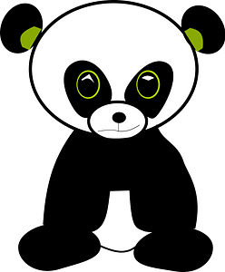 Panda with green accents clipart