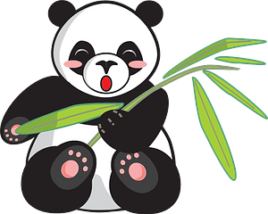Panda holding bamboo branch clipart