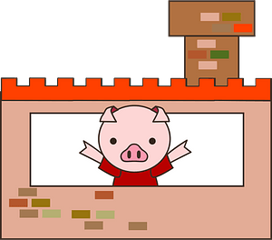 Pig from The three little pigs clipart