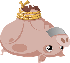 Pig with feet tied together and tape on its mouth clipart