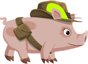 Pig going hunting clipart