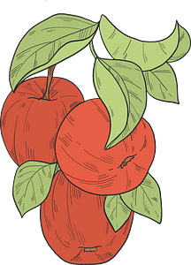 Red apples on a branch clipart