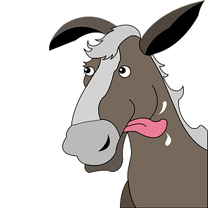 Cartoon horse with protruding tongue clipart