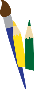 Paintbrush and pencils clipart