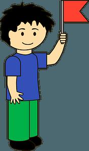 Boy with a flag clipart