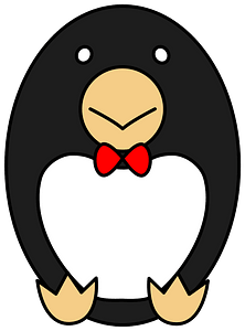 Penguin with bow tie clipart