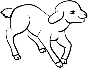 Cute lamb - black and white clipart