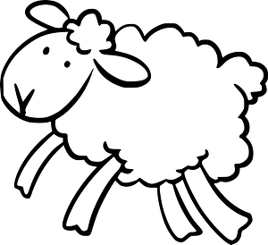 Jumping lamb - black and white clipart