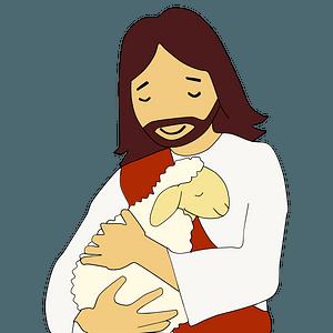 Jesus holding lamb clipart