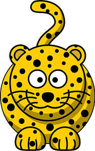 Smiling Yellow Leopard with Big Eyes 클립 아트