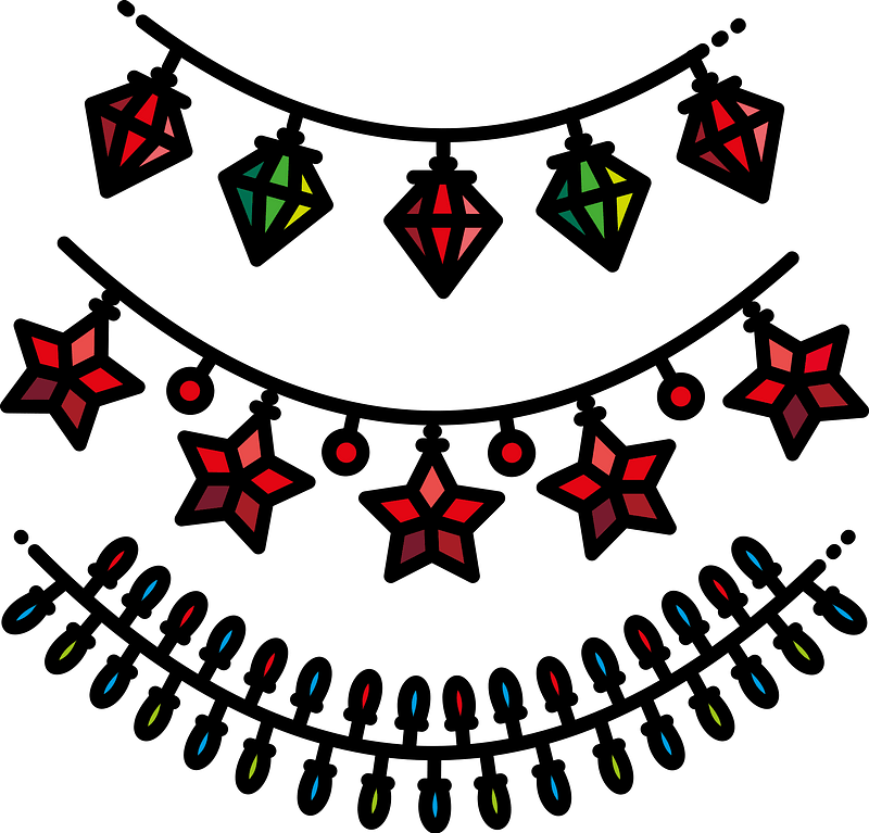Christmas string lights clipart