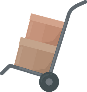 Moving cart with boxes clipart