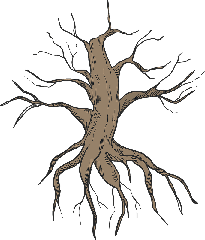 Dried-up tree with roots clipart. Free download ...