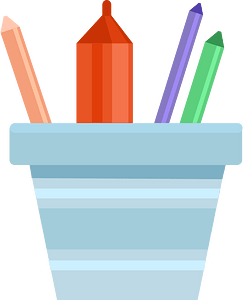 Pot with crayons clipart