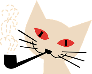 Cat face with pipe clipart
