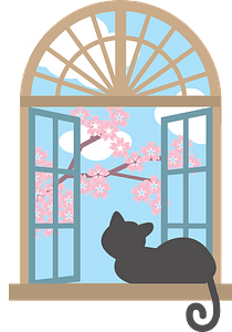 Cat is looking out the window clipart