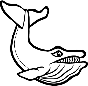 Whale - Black and White clipart
