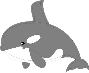 Smiley orca - grayscale clipart