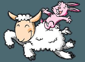 Cartoon bunny and lamb clipart