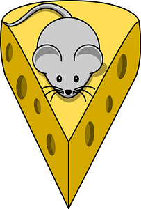 Tiny mouse on top of a cheese wedge clipart