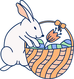 Easter bunny and basket clipart