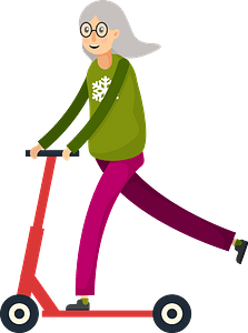 Elderly woman on scooter clipart