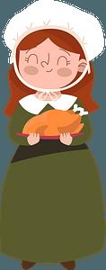 Pilgrim lady clipart