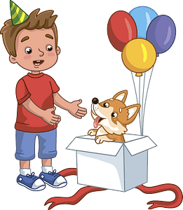 Birthday boy and his new dog clipart
