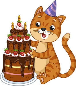 Birthday cat clipart
