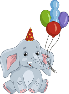 Birthday elephant clipart