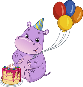 Birthday hippo clipart
