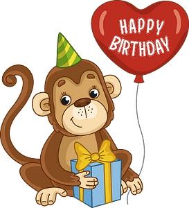 Birthday monkey clipart