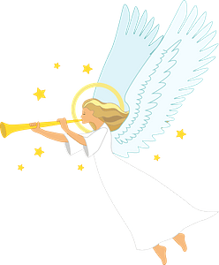 Christmas angel with trumpet clipart