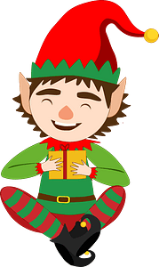 Christmas Elf with present clipart