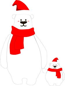 Christmas Polar Bears clipart