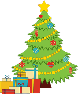 Christmas tree and presents clipart