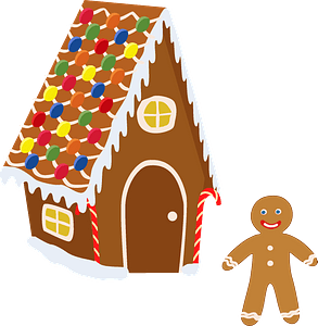 Gingerbread and gingerbread house clipart