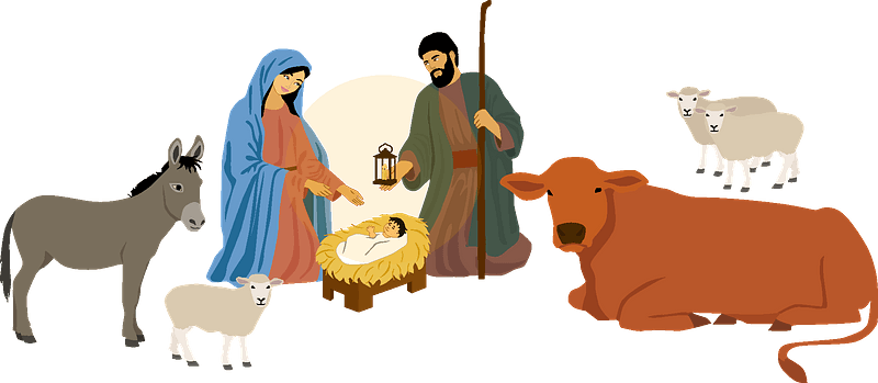 Nativity Scene and stable clipart. Free download transparent .PNG | Creazilla