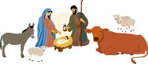 Nativity Scene and stable clipart