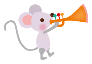 Mouse playing the trumpet 剪贴画