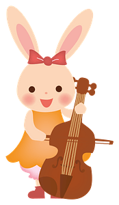 Bunny playing the cello clipart