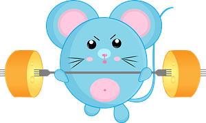 Cartoon mouse with barbell 剪贴画