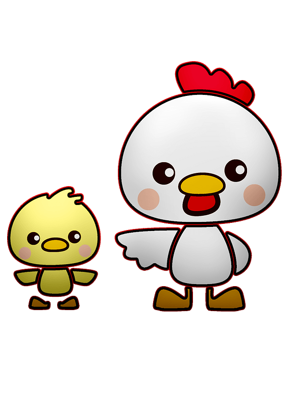 Cute chicken and chick clipart