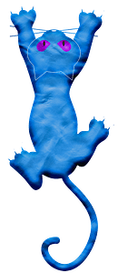 Blue cartoon cat clipart