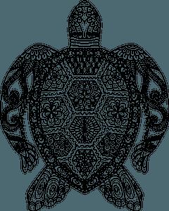 Floral sea turtle clipart