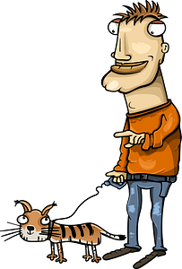 Man with cat on a walk clipart