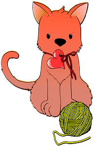 Cat with a ball of yarn clipart