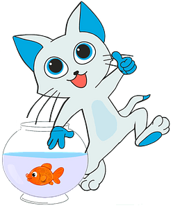 Cartoon cat catching a fish clipart
