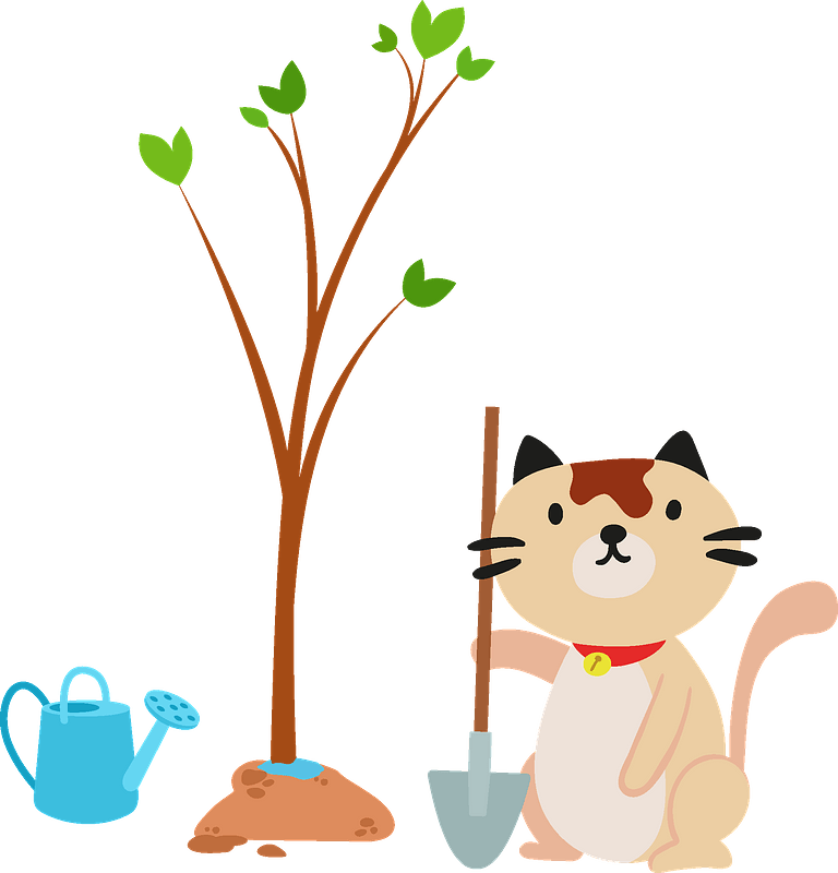 Cat planting a tree clipart